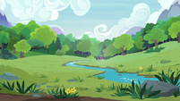 Wide open meadow of grass and water S7E5