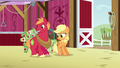 Applejack and Big Mac drop cans on the barn floor S6E23.png