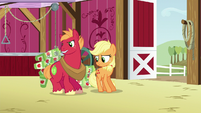 Applejack and Big Mac drop cans on the barn floor S6E23