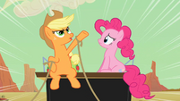 Applejack and Pinkie Pie on the coach S2E14