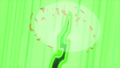 Chrysalis' horn appears and vaporizes AJ's hat S5E26.png