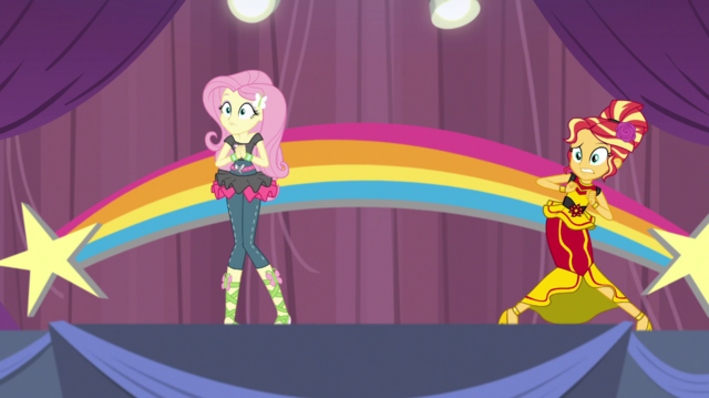 File:Fluttershy and Sunset Shimmer looking awkward EGS1.png