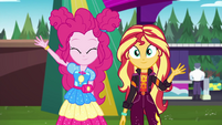 Pinkie Pie and Sunset waving goodbye EGSBP