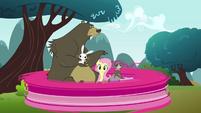 Pinkie Pie clone zooming around the picnic S3E3