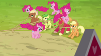Pinkie Pie clones surrounding the ponies S3E03