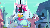 Pinkie Pie hanging on upside down S3E1