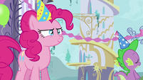 Pinkie being sly and Spike walking off S5E12