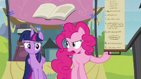 Pinkie showing Twilight the rules S4E22