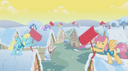 Ponyville's residents, participating in the Winter Wrap Up S01E11