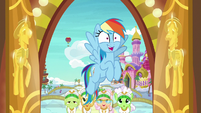 Rainbow Dash and grannies entering the hotel S8E5