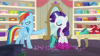 Rainbow Dash smacks Rarity's shoes away S8E17
