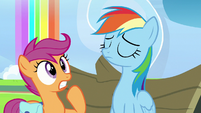 Scootaloo shocked; Rainbow Dash nodding S7E7