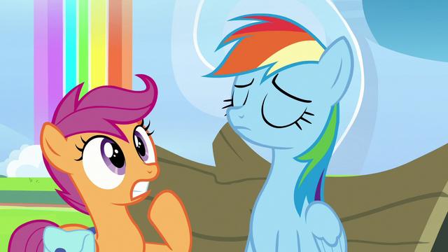 File:Scootaloo shocked; Rainbow Dash nodding S7E7.png