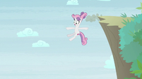 Sweetie Belle diving over a cliffside S9E22