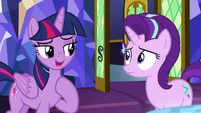Twilight -invited her to come to Ponyville- S8E1