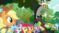 Applejack and friends outside the ceremony S9E23