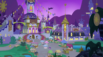 Canterlot Castle courtyard before sunrise S9E17