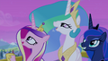 Celestia, Luna, and Cadance looking at the sky S4E25.png