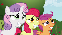Cutie Mark Crusader grin nervously at Gabby S6E19