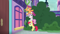 Cutie Mark Crusaders forming a pony ladder S8E12