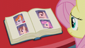 Fluttershy looking at different mane style photos S6E11.png
