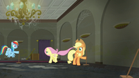 Fluttershy runs towards the room Rarity is in S6E9