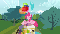 Pinkie Pie on a pile of stuff S4E09