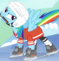 Rainbow Dash horse hockey gear ID S5E5