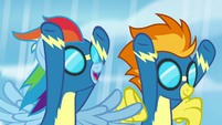 Rainbow Dash thanks Spitfire for helping S7E7