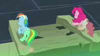Rainbow and Pinkie reach other end of the chasm S7E18