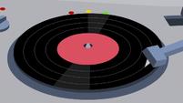 Record needle skip across vinyl record S9E7