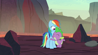 Spike hugging Rainbow Dash S7E25