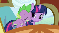 Spike on Twilight's back 3 S3E2