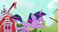 Twilight Sparkle falls toward the mud S6E10