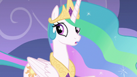 Celestia looks back at Twilight and Spike S8E7