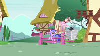 Cranky reading newspaper next to Sea Swirl S8E21