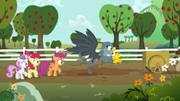 Dr. Hooves frees his cart from the mud S6E19