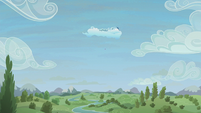 Far distance view of Cloudsdale flight camp S5E25