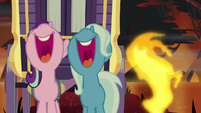 Geyser bursts right of Starlight and Trixie S8E19