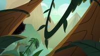 Kirin peeking out from behind a tree S8E23