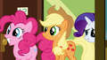 Pinkie Pie Applejack and Rarity visiting Rainbow S2E16.png
