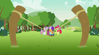 Scootaloo standing in the slingshot's path S7E7