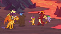 Spike, Smolder, and Garble with other dragons S9E9
