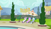 Sweetie Belle, Diamond Tiara, and Silver Spoon poolside S4E15