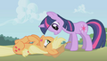 Twilight is happy to see Applejack in one piece S1E04.png