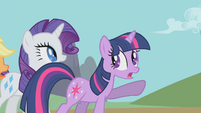 Twilight points to Celestia's chariot S1E10