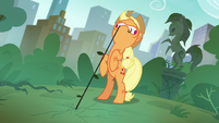 Applejack pulling on a stubborn weed S5E16