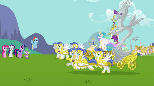 Файл:Celestia and Discord arrive to Ponyville S3E10.png