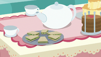 Cucumber sandwiches and tea set for two S7E12