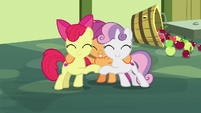 Cutie Mark Crusaders in a group hug S8E12